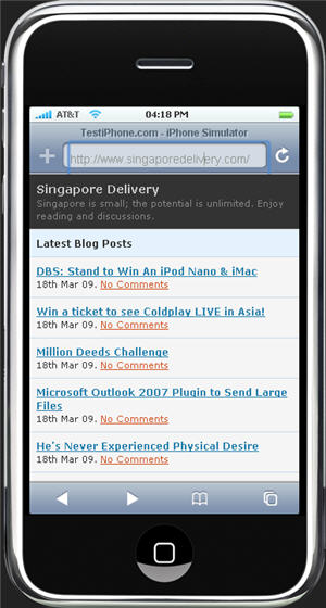 Singapore Delivery Launches Mobile Version for iPhone, Windows Mobile
