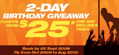Tiger Airways: 2-Day Birthday Giveaway