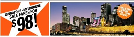 Jetstar Melbourne deal @ $98: 9 June 2010 3pm – 5pm only!
