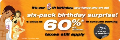 Tiger Airways: 60% off 6 cities in Asia till Sep 15 2010