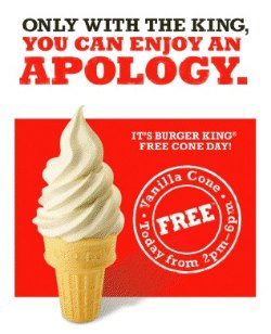 Don't miss Burger King's Free Cone's day, Oct 6 2010!